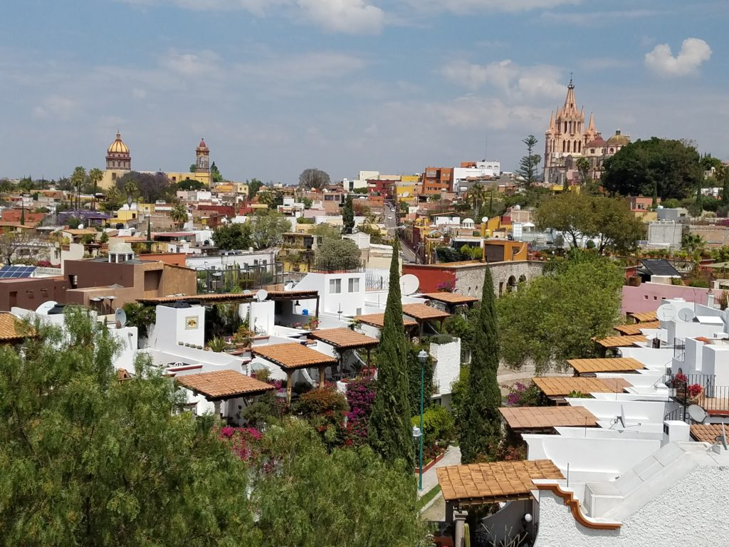 Daytime view of San Miguel de Allende from Luna Rooftop Tapas Bar of the Rosewood Hotel