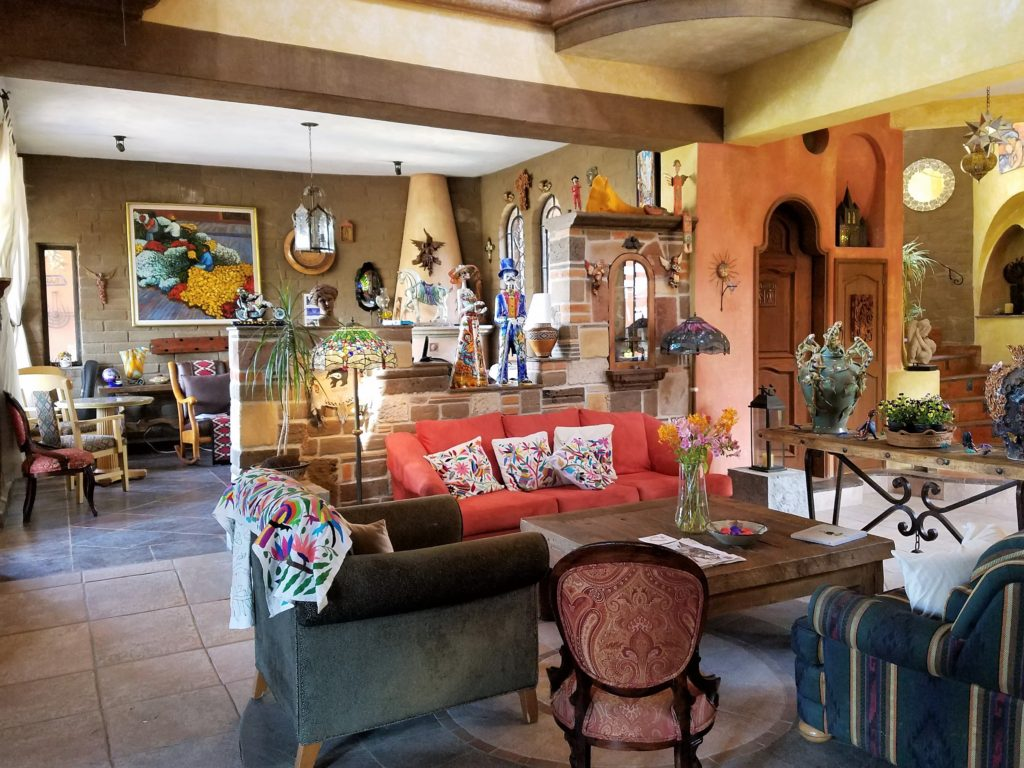 One of the sitting rooms at Hotel Boutique Casa Angelitos