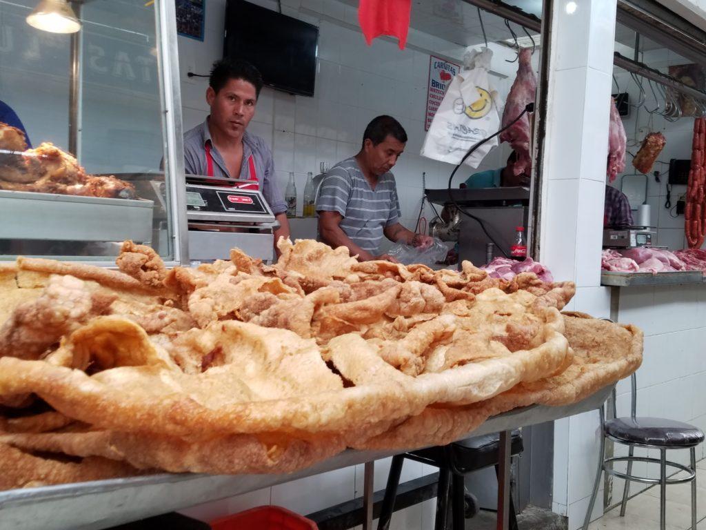 Chicharron at Mercado La Cruz