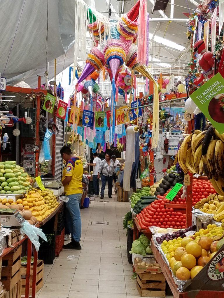 Produce aisle in Mercado La Cruz, Queretaro, Mexico