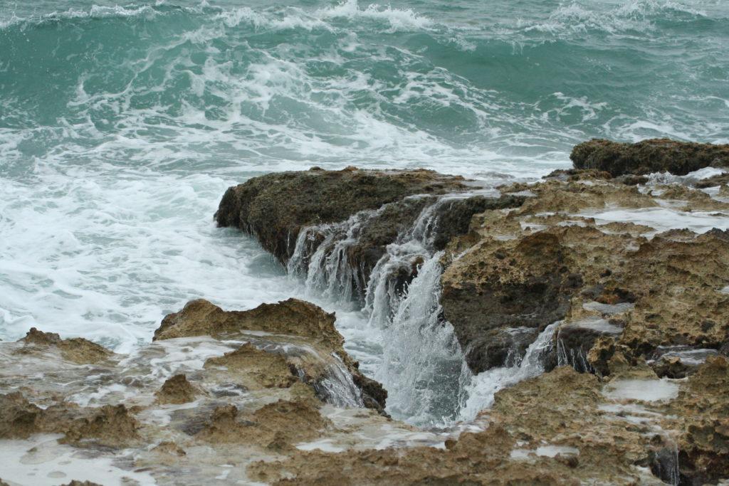 Rocky coastline on the east side of Cozumel, Mexico