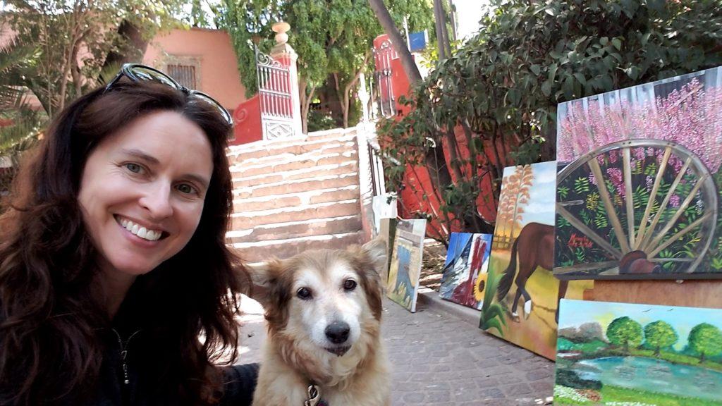 Tiffany and Hayley admiring the art in Juarez Park, San Migue de Allende, Mexico