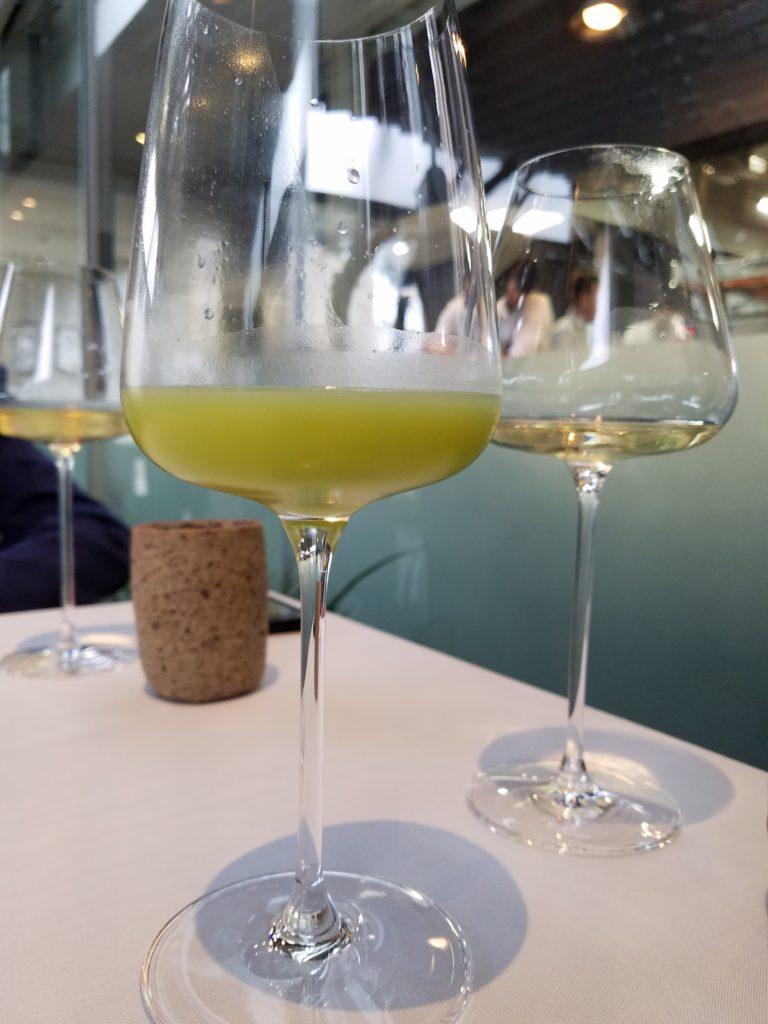 Juice Pairing: kyawa a vegetable and grenadine a fruit like passionfruit with soda water at Central- Lima, Peru