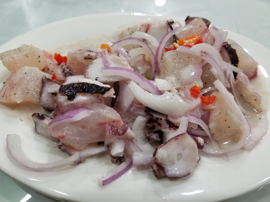 Fish and octupus ceviche at Chez Wong in Lima, Peru