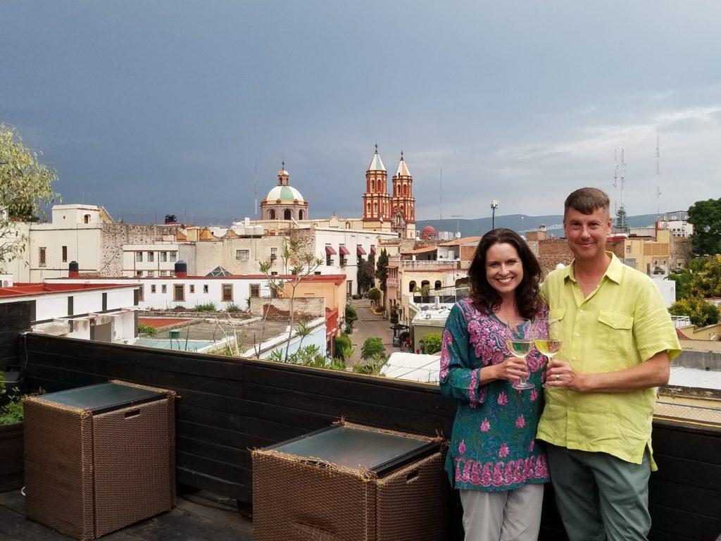 Tiffany and Tom in Centro historico, Queretaro in Colonial Mexico