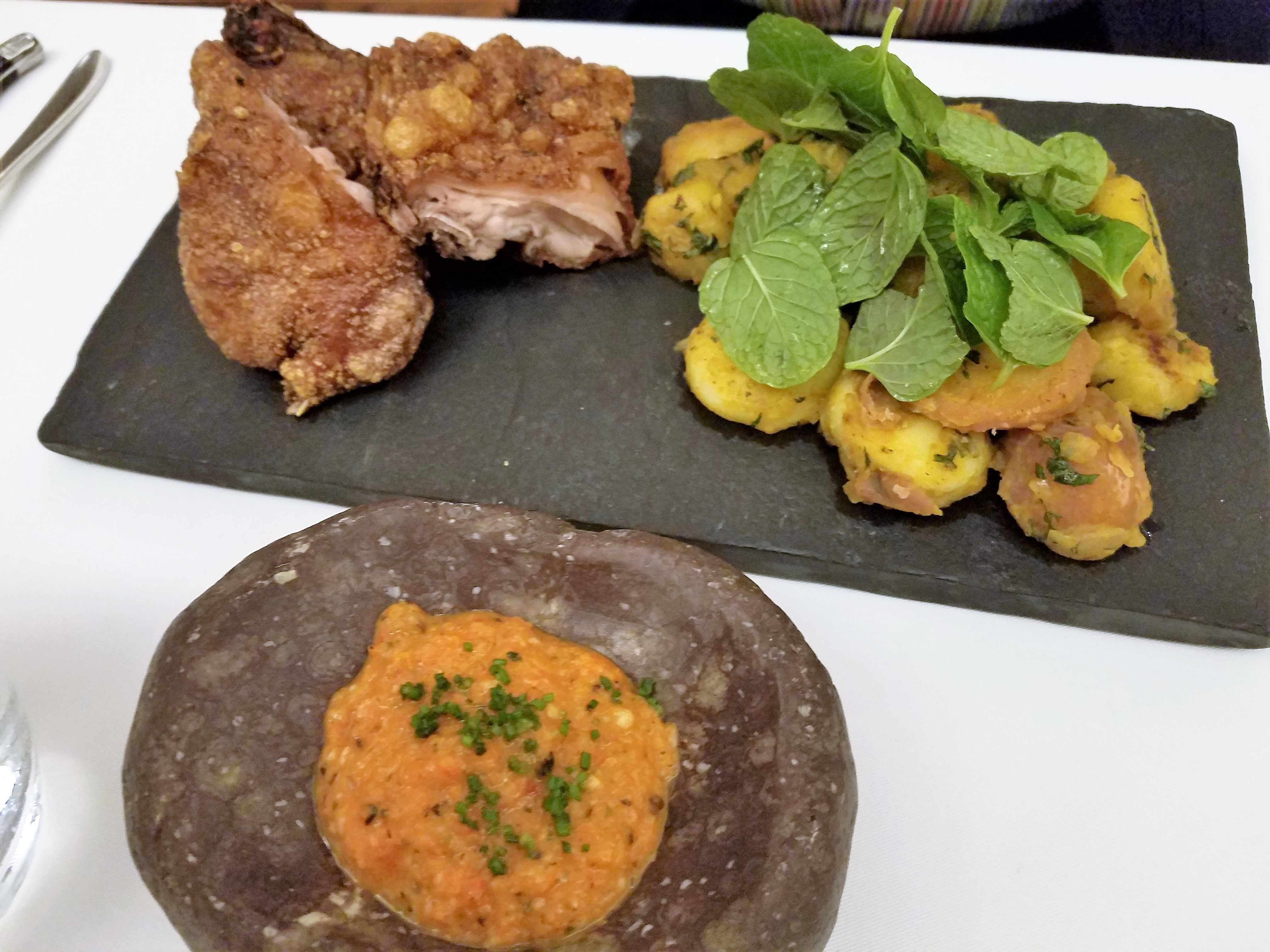 Deep Fried Guinea Pig with panko hash browns and uchucuta sauce