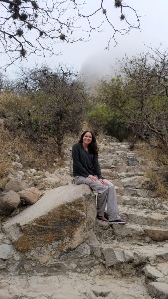 Tiffany resting on the trail up to Peña de Bernal.