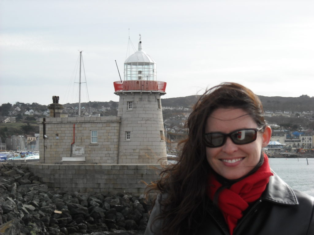Tiffany posing in front of Howth Lighthouse, Howth, Ireland