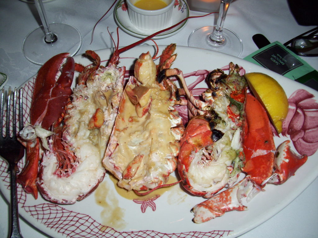 Lobster prepared three ways: Steamed, Whiskey Creme, and Broiled at King Sitric, Howth, Ireland