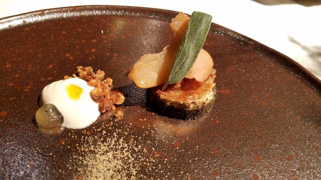 Foie gras, yogurt with coffee and sage. Mountain goat cheese, black mushroom gel and pan fried prawn. Hisa Franko