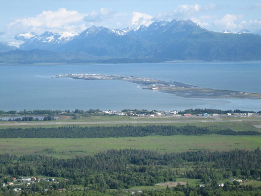 Homer Spit stretching 4.5 miles out into Kachemak Bay, Alaska