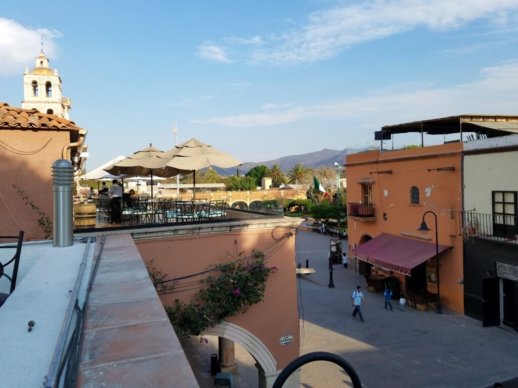 Rooftop restaurant views in Tequisquiapan, Mexico
