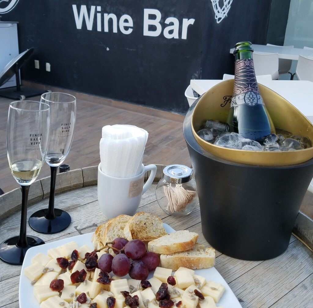 Sparkling wine and regional cheese at Freixenet Wine Bar, Tequisquiapan, Mexico